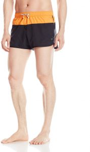 6947cc1d11 Emporio Armani EA7 Men's Color Block Stripe Mid Length Swim Shorts, Black,  XX-Large/EU 56