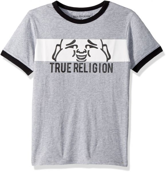 more photos 9bb2f 1e0df True Religion Little Boys Logo Tee Shirt, Heather Gray, 7  S