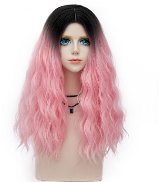 Probeauty Miracle Collection 60cm Dark Root ombre Baby Pink Curly ... e4d81e646
