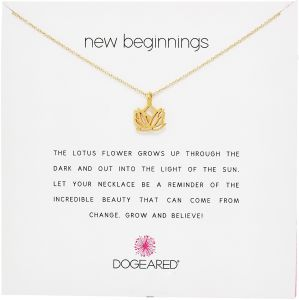 3fe430e12b17a7 Dogeared Reminders New Beginnings Rising Lotus Gold Charm Necklace, 16