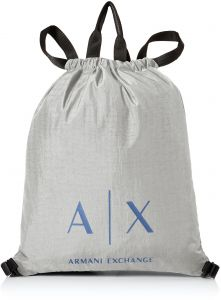 Armani Exchange Men s Light Weight Crinkle Nylon Logo Drawstring  Tote Backpack 7c90b3d351