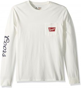 db1b7365014f1 Brixton Men's Coors Banquet Long Sleeve Premium Tee Shirt, Off White, M
