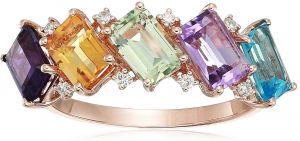 b7c38c6b3 EFFY Womens 14K Rose Gold Diamond, Amethyst, Pink Amethyst, Green Amethyst,  Blue Topaz, Citrine Ring, Multi, 7