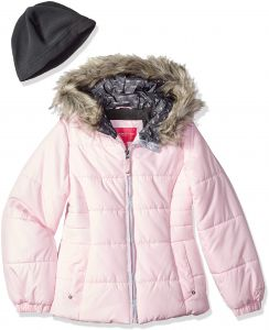 6b9b0858 London Fog Big Girls' Quilted Puffer Jacket with Fleece Hat, First Blush,  7/8