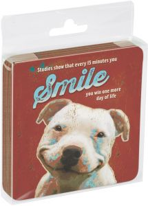 96173 Four Legged Word Themed Pet Lover Art 3.75 x 3.75 Inches Tree-Free Greetings Set Of 4 Cork-Backed Coasters