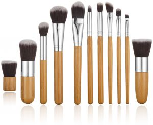 6bb11c0555a0e STELLAIRE CHERN 11 Pieces Professional Makeup Brush Set Foundation Blending Blush  Concealer Eye Face Liquid Powder Cream Cosmetics Brushes Kit - Bamboo ...