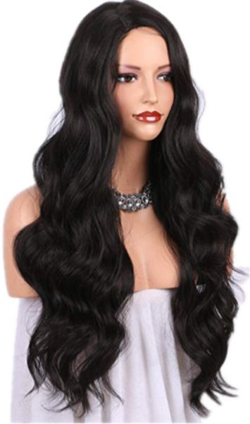 Fashion Synthetic Long Wavy Black Hair Wigs Show Coco Synthetic Wigs