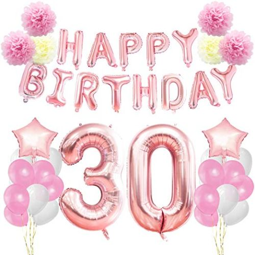 30th Birthday Decorations Kit Rose Gold Happy Banner Giant Number 30 And Star Helium Foil Balloons Ribbons Paper Pom Flowers Latex