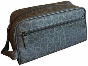 94c2b7259716 Calvin Klein Logo Pebbled Leather Cosmetic Toiletry Bag Case Large Brown