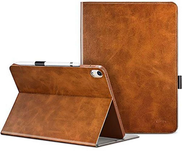 Apple iPad Pro 11 2018 ESR ‫(Simplicity) Pencil holder, Multi-Angle Viewing Stand, Smart Cover with Auto Sleep/Wake Function Cover Case - Brown