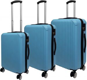 e2d89f571db8 HighFlyer Trinity Series 3 Pc Trolley Hard Luggage Bag Set - Blue
