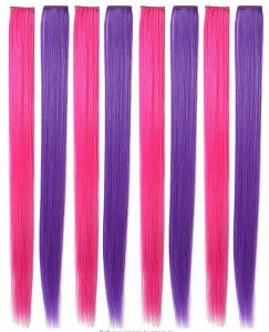 1677f8c0d1ab Pink Purple Hairpieces Colored Hair Extensions Clip in On for Girls and  Kids Wig Pieces for Dolls Princess Party Highlight 8 PCS