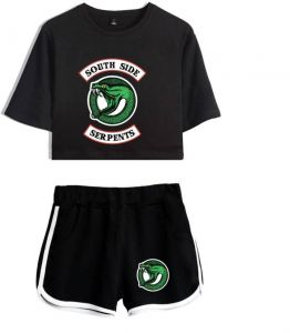 1f7035ccb12 US drama River Valley Town RIVERDALE short-sleeved shorts sports suit women  black