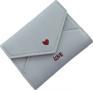 Faux-Leather Small Heart Wallet with Card Holder for Women Girls (blue)