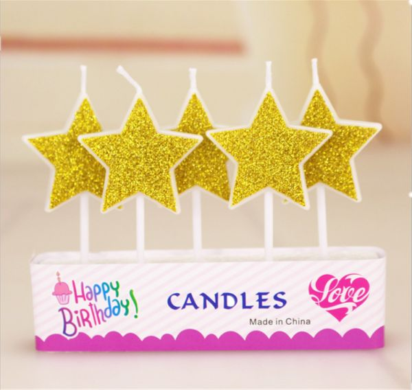 5PCS Five Sticks Star Design Happy Birthday Candle Kid Adult Cake Decoration Candles Golden Pink Party Decorations