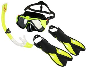 Anti-fog Goggles Mask Snorkel Tube Fins with Gear Bag for Men Women Swimming Scuba Diving Travel