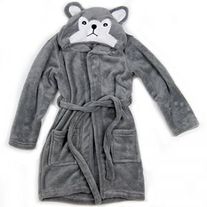 496bdcb434 Hooded Fleece Robes for Toddlers Keeps Kids Cozy Toddler Robe Calms  Children and Warm Kids  Robe for Boys and Girls (Gray Wolf)