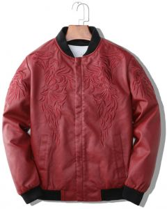 ac2f60562094 European and American style men s velvet red leather jacket-XL