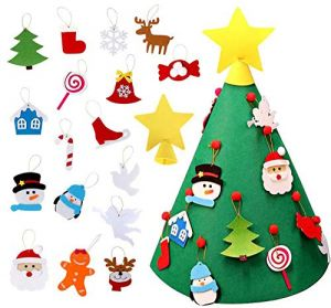 3D DIY Felt Christmas Tree with Ornaments, Children Friendly Christmas Tree Game, 28 inch Tall Tapered Felt Tree, 20 inch Wide Diameter for Children DIY ...