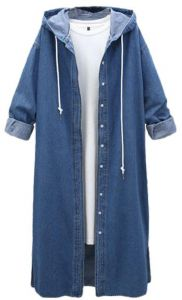 8b1923c1e Hooded long-sleeved single-breasted denim jacket large size women's  personality long trench coat dark blue