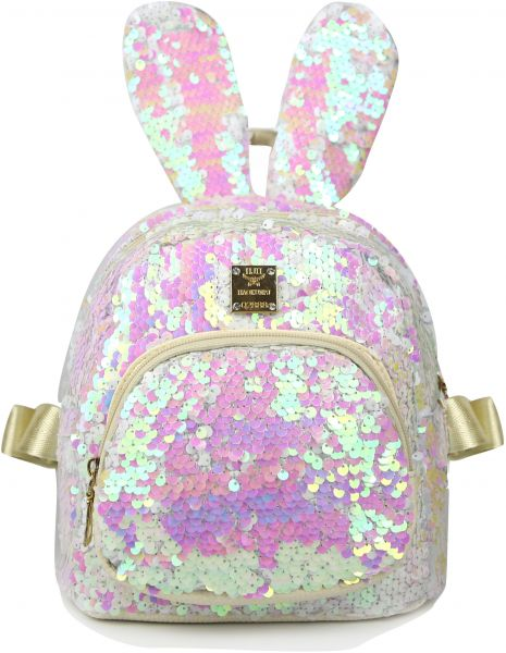 6852bbf830 Slovey Mermaid Sequins Kids Backpack with Cute Bunny Ear Small ...