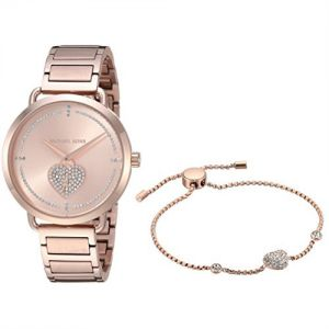7143746a234 Michael Kors Women s Rose Gold Dial Stainless Steel Band Watch Set - MK3827
