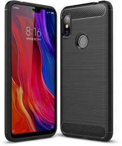 Redmi Note 6 case, Ultra Light Carbon Fiber Armor Shockproof Brushed Silicone Grip Case for Xiaomi Redmi Note 6/Note 6 Pro -Black