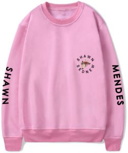 fd6c04d2c Shawn Mendes sweatshirt round collar oversize cotton hoodie printing casual  top Pink