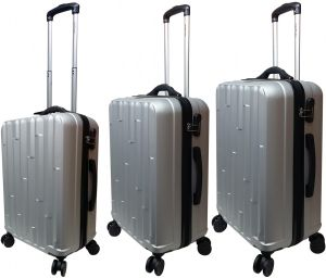 b636080c2a82 HighFlyer Hills 3 Pc Hard Trolley Smart Luggage With Weighing Scale Luggage  Bag Set - Grey