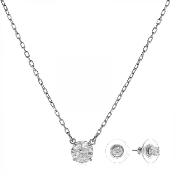 Swarovski Women s White Rhodium Plated Attract Round Jewelry Set - 5113468   22cb89ff35