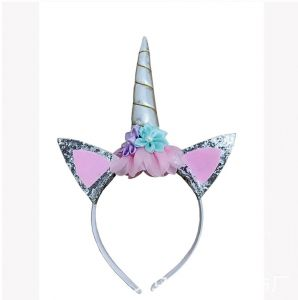 2a4e58faf31 1 silver gold unicorn headband with children s cartoon head with Halloween Princess  birthday party headdress