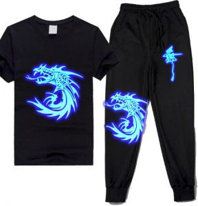 Ghost step Night Lights Luminous dress glow-in-the-dark T-shirt trousers  set fluorescent full set for male and female students and children with  short ... 13a8ee63e