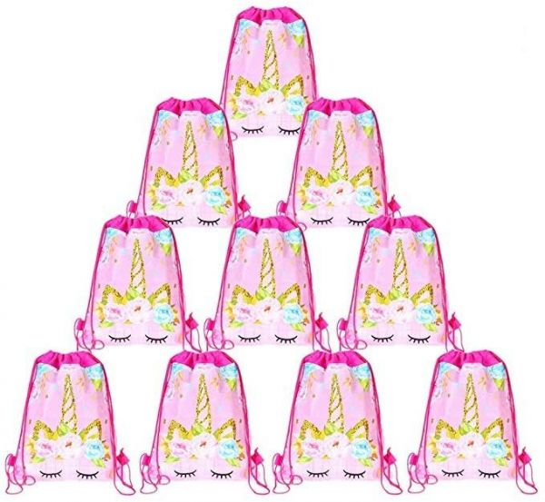 12 Pack Unicorn Drawstring Party Bag Backpacks Gifts Bags Birthday Supplies Favor For Kids Children Girls Baby Shower