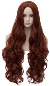 Women Auburn Wig 32 inches Long Curly Wavy Costume Wig Heat Resistant Synthetic Cosplay Halloween Party Wigs