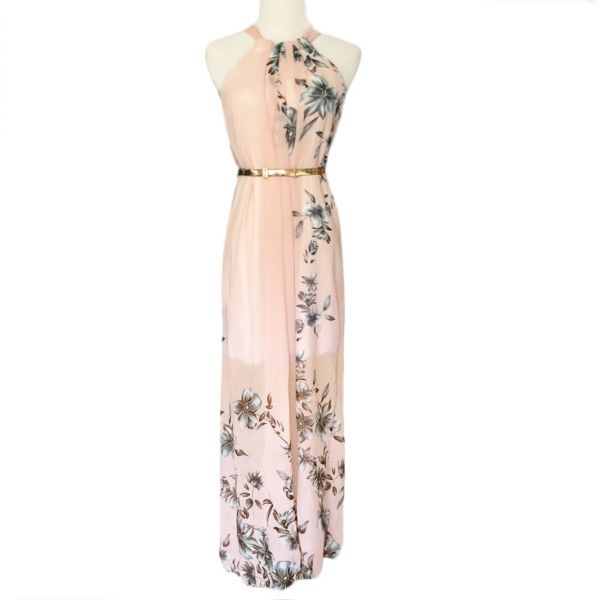 48caf9b89673 Chiffon Dress Floral Print Crew Neck Sleeveless Party Beach Boho ...
