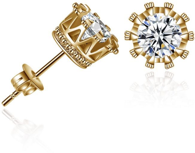 Golden Crown Stud Earrings Jewelry Zircon Earrings aliExpress Birthday Gifts Wedding White Valentine's Day Romantic Gift for Wife