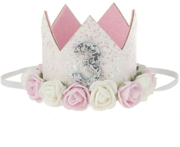 1328b86ffe4 3 Year old Child Rose Crown Baby Princess Tiara Crown Baby Girls Kids First  Birthday Hat Sparkle Gold Flower Style with Artificial Rose Flower