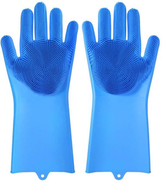 Magic Reusable Silicone Gloves With Wash Scrubber Dishwashing Gloves Heat Resistant Kitchen Tool for Cleaning Household Car Washing Pet Hair Care Gloves 1 Pair ( Blue )