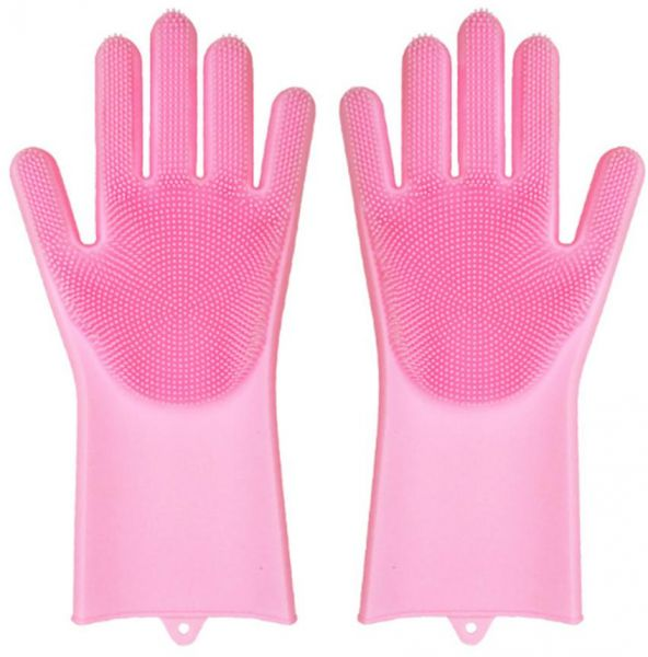 Magic Reusable Silicone Gloves With Wash Scrubber Dishwashing Gloves Heat Resistant Kitchen Tool for Cleaning Household Car Washing Pet Hair Care Gloves 1 Pair ( Pink )