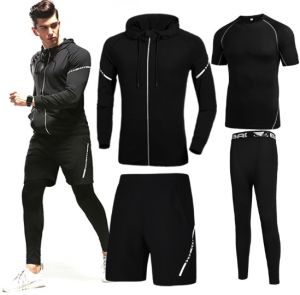 ce76409569fc9 4 pcs/set Men's gym workout clothes short sleeved two-piece summer  quick-dry breathable running tights gym outfit track suit Sport Suit Sports  Set