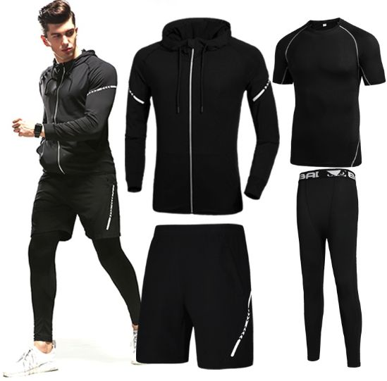 d61f6f543a280 4 pcs/set Men's gym workout clothes short sleeved two-piece summer  quick-dry breathable running tights gym outfit track suit Sport Suit Sports  Set | KSA | ...