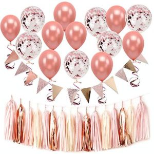 f2cafc2720dafe 47PCS Set Rose Gold Wedding Party Decoration Set-30 Pack Rose Gold Confetti  Balloons