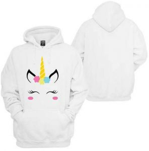 dabb50879a469 Women White Long Sleeves Unicorn Blouse Hoodies Pullover Casual Sweatshirt  Tops Pattern Print Hooded Long-Sleeved Sweatershirt