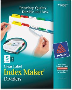 avery index maker clear label dividers 5 tabs 1 set 11406