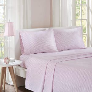 Mi-Zone Gingham Twin Bed Sheets Casual 100% Cotton Bed Sheet Pink Bed Sheet Set 3-Piece Include Flat Sheet Fitted Sheet u0026 Pillowcase & Sale on pink camo bed tent twin | BrightlinenSuperiorLivingston ...