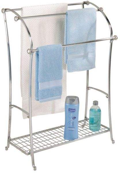 Interdesign York Lyra Free Standing Floor Towel Holder Bathroom Drying Stand Split Finish Souq Uae