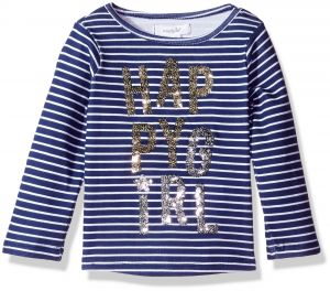 Mud Pie Baby Toddler Girls Sequin Long Sleeve T Shirt Happy Girl LG 4T 5T