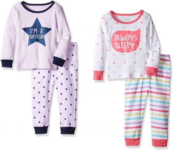 e68363bcc The Children s Place Baby Toddler Girls  Top and Pants Pajama Set ...