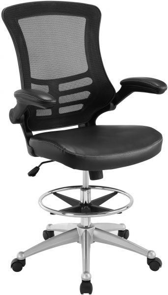 Modway Attainment Drafting Chair In Black Reception Desk Chair