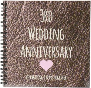 3drose Db 154430 1 3rd Wedding Anniversary Gift Leather Celebrating 3 Years Together Third Anniversaries Three Years Drawing Book 8 By 8 Inch